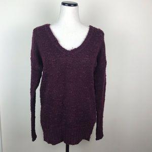 AEO deep burgundy v neck sweater